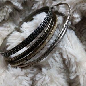 BANGLES! 1 cloisonne and 5 silvertone bracelets